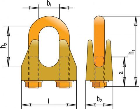 Зажимы винтовые канатные по DIN 1142 (для подъемных операций)